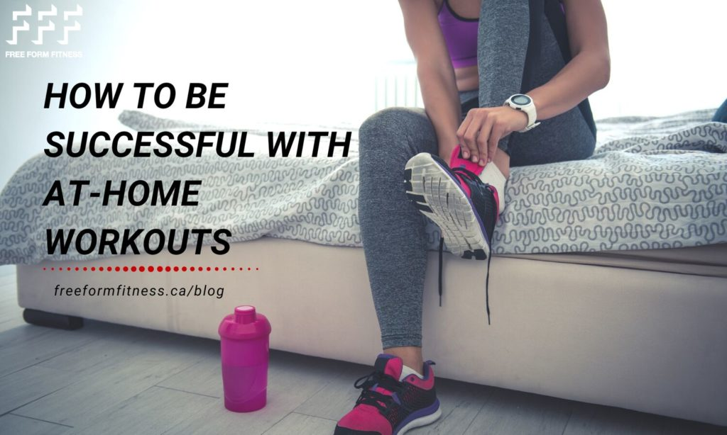 how to be successful with at-home workouts. Woman tying shoes for at-home workout.